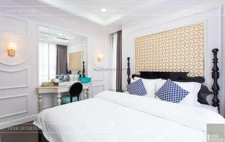 Toàn cảnh thực tế căn hộ THE TRESOR trong thiết kế nội thất Indochine:  Phòng ngủ by ICON INTERIOR