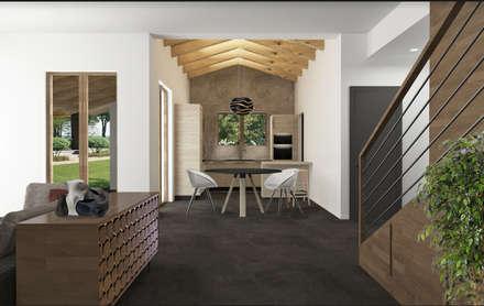 Sogno una casa industriale zen!: Sala da pranzo in stile in stile Industriale di interiorbe SRL