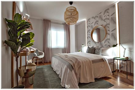 The botanical bedroom: Quartos tropicais por RG Home Stylist