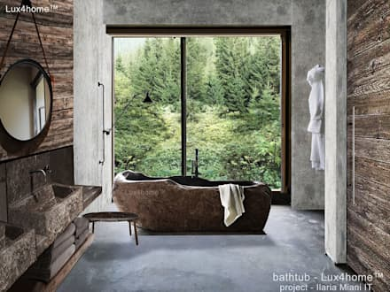 River stone bathtub for sale - freestanding stone bathtubs: scandinavian Bathroom by Lux4home™ Indonesia