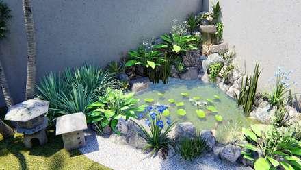 Laguinho para peixes: Lagoas de jardins  por Trivisio Consultoria e Projetos em 3D