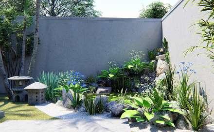 Laghetto da giardino in stile  di Trivisio Consultoria e Projetos em 3D