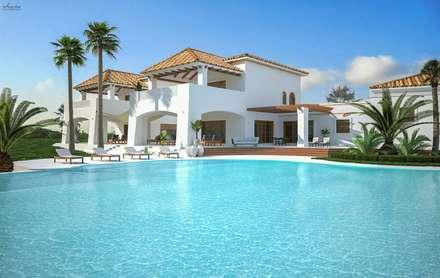 Villa con piscina: Giardino con piscina in stile  di Santoro Design Render