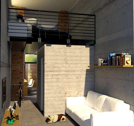 vista parte su strada ,zona giorno: Soggiorno in stile in stile Industriale di Lambda Design