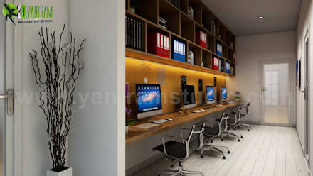 Computer Room Design Ideas:  Office buildings by Yantram Architectural Design Studio