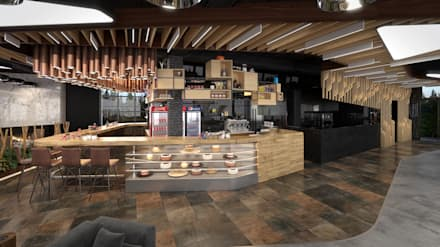 Dündar Design - 3D Mimari Görselleştirme – Kafe - İç Mekan: modern tarz Yemek Odası