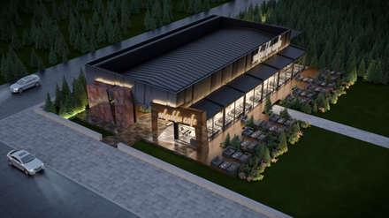 Dündar Design - 3D Mimari Görselleştirme – Kafe - Dış Mekan: modern tarz Yemek Odası