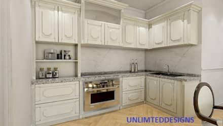 RUSTIC KITCHEN WITH WHITE LAMINATES:  Kitchen units by unlimteddesigns/bansal designs