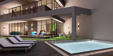 A duplex Villa: minimalistic Houses by  Ashleys