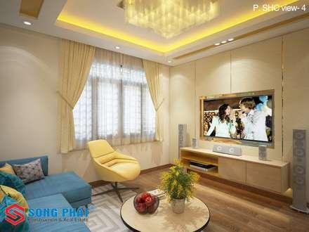 Lựa chọn đồ nội thất phù hợp cho phòng khách hiện đại:  Phòng khách by Công ty TNHH Thiết Kế Xây Dựng Song Phát