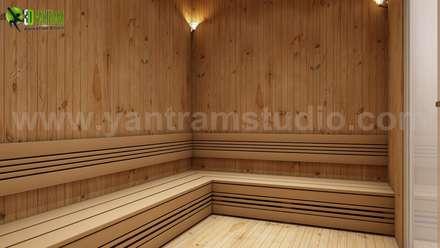 Man Female Steam Room In House Design Ideas:  Sauna by Yantram Architectural Design Studio
