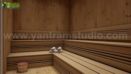 3D Interior Sauna Room Wooden Rendering ideas:  Steam Bath by Yantram Architectural Design Studio