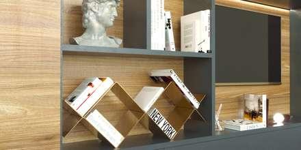 Soggiorno con consolle tv e poltroncine in stile vintage: Soggiorno in stile in stile Industriale di Andrea Bendinelli - Interior Design