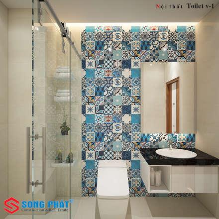 Các điểm nhấn thú vị được KTS thêm vào một cách khéo léo.:  Phòng tắm by Công ty TNHH Thiết Kế Xây Dựng Song Phát