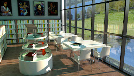 bookshelves and reading area :  Office buildings by DESIGN SOLACE