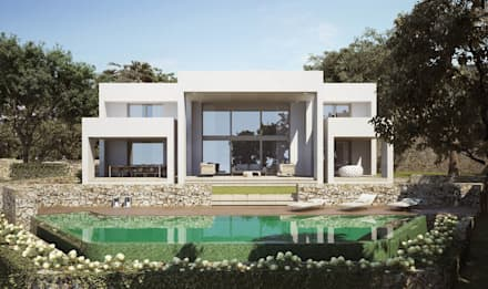 Piscina: Villas de estilo  de ÁVILA ARQUITECTOS