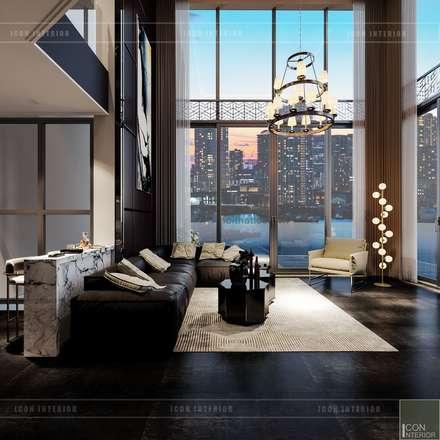 Thiết kế nội thất Penhouse Masteri Millenium - Phong cách hiện đại kết hợp Đông Dương:  Phòng khách by ICON INTERIOR