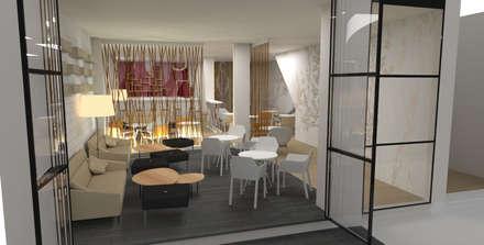 DISEÑO INTERIOR DE LOCAL: Salones de estilo ecléctico de Elephantone Design Studio