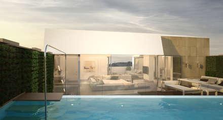 Proyecto de diseño y constucción de tres exclusivas viviendas: Santa María 23: Piscinas de jardín de estilo  de Andrea Font- Homify
