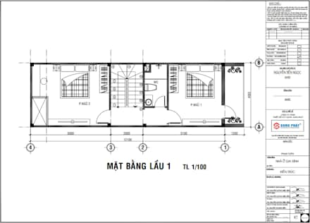 Mặt bằng bố trí vật dụng lầu 1.:  Nhà by Công ty TNHH Thiết Kế Xây Dựng Song Phát