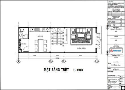 Mặt bằng bố trí vật dụng tầng trệt.:  Nhà by Công ty TNHH Thiết Kế Xây Dựng Song Phát