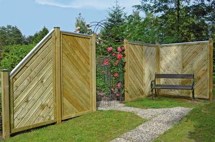 Fichte KDI Sichtschutzzaun Firenze 1,80 x 1,80 m gerade: rustikaler Garten von Ligna-Gard GmbH