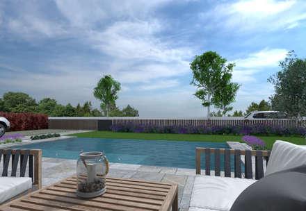 Habitação Aroeira : Piscinas infinitas  por AES - Arquitectura Engenharia e Serviços