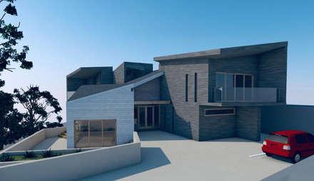 Vista hacia acceso de la vivienda: Casas unifamiliares de estilo  por Lagom Studio