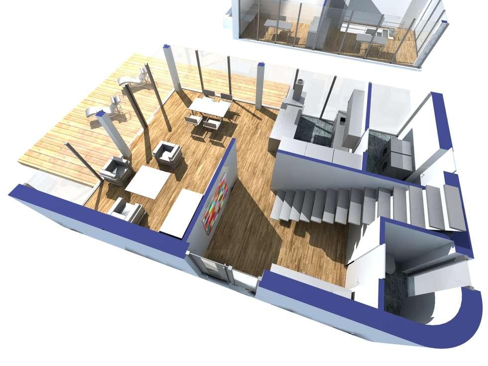 Visualisierung des Erdgeschosses: moderne Wohnzimmer von Hellmers P2 | Architektur & Projekte