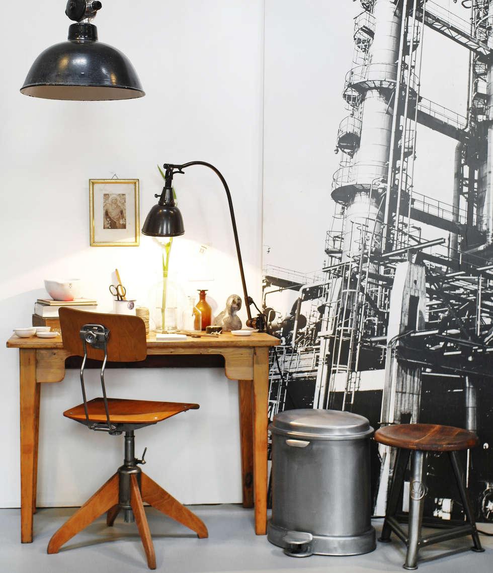 Arbeitsplatz im Industrie-Look: industriale Arbeitszimmer von Goldstein & Co.