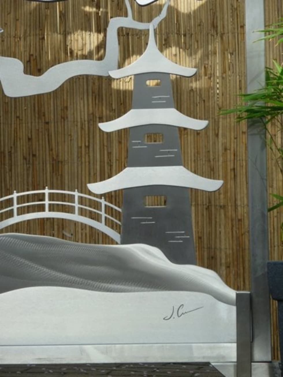 Edelstahl Tordesign: asiatischer Garten von Edelstahl Atelier Crouse - Stainless Steel Atelier
