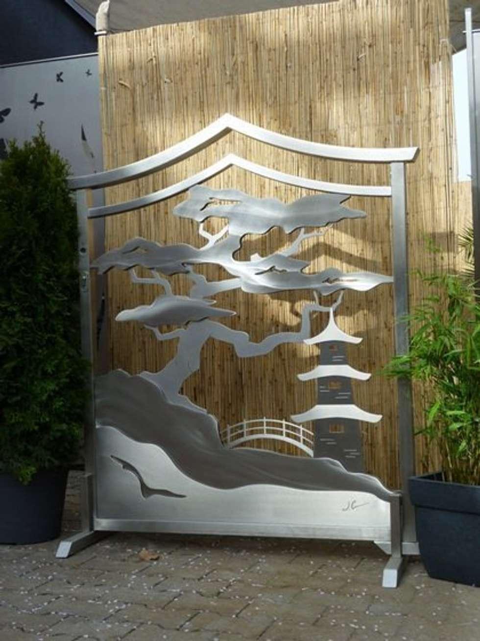 Edelstahl Tor: asiatischer Garten von Edelstahl Atelier Crouse - Stainless Steel Atelier