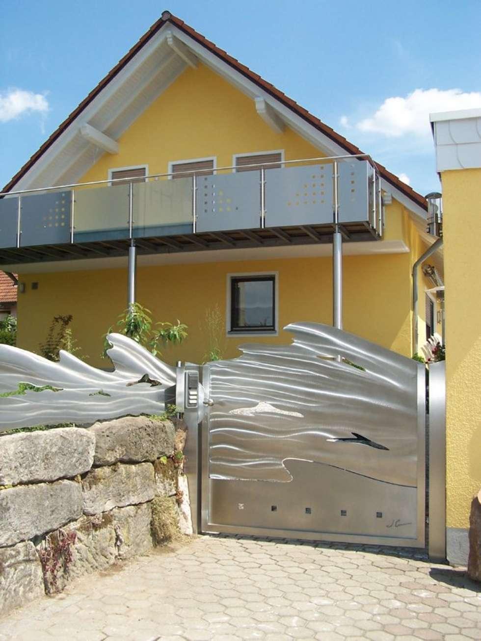 Edelstahl Tor und Zaunanlage: moderner Garten von Edelstahl Atelier Crouse - Stainless Steel Atelier