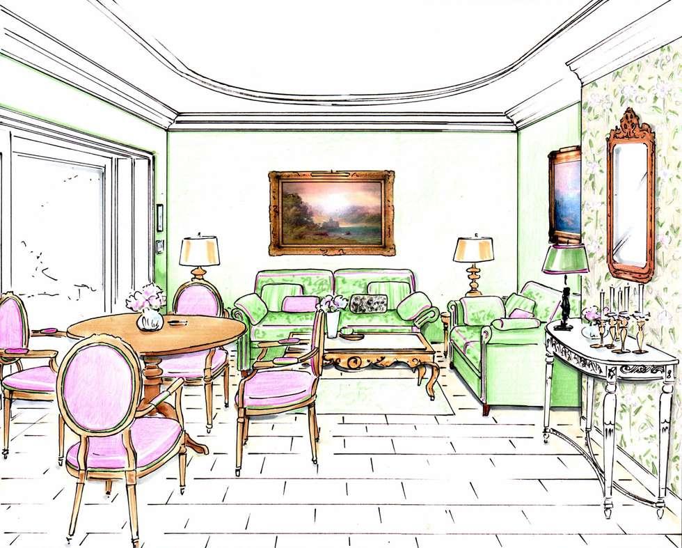 Perpektive Gartenzimmer: klassische Wohnzimmer von Innenarchitektin Claudia Haubrock