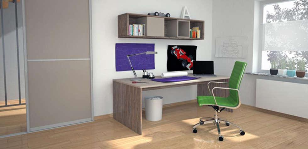 Schreibtisch in zwei Dekoren: moderne Arbeitszimmer von deinSchrank.de GmbH