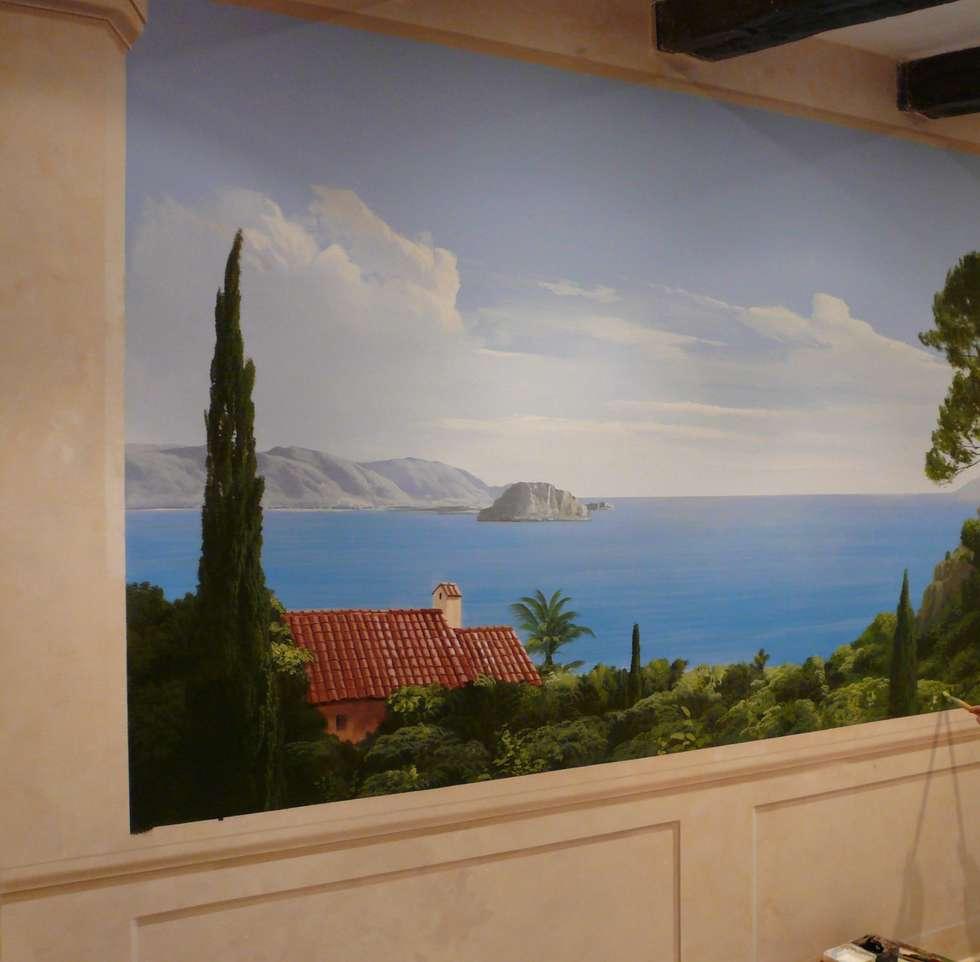Wandmalerei  mediteraner Ausblick: klassische Schlafzimmer von Illusionen mit Farbe
