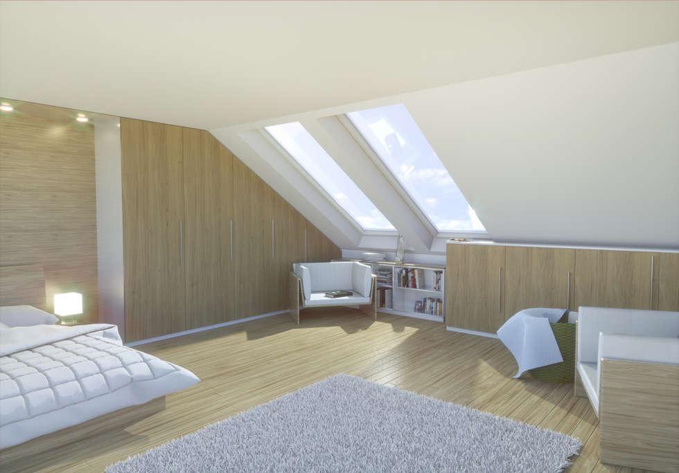 Schlafzimmer unter der Schräge: moderne Schlafzimmer von meine möbelmanufaktur GmbH