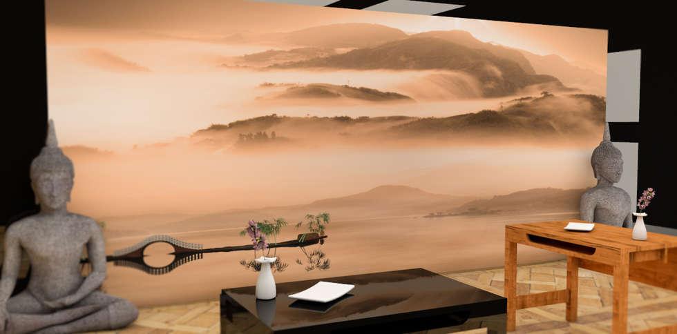Tapisserie Paysage Japonnais: Locaux commerciaux & Magasins de style  par YEDA
