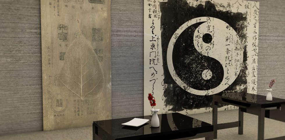 Tapisserie sigle Japonnais: Locaux commerciaux & Magasins de style  par YEDA