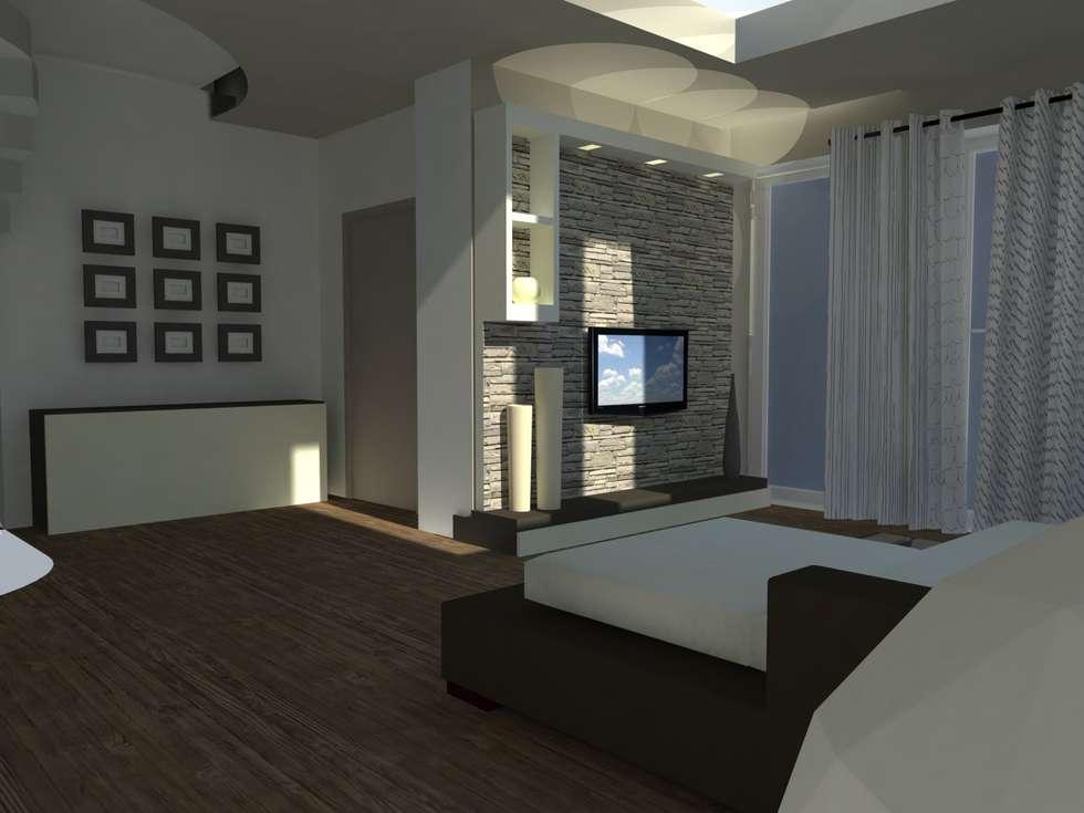 Foto di soggiorno in stile in stile moderno : progetto villa singola  homify