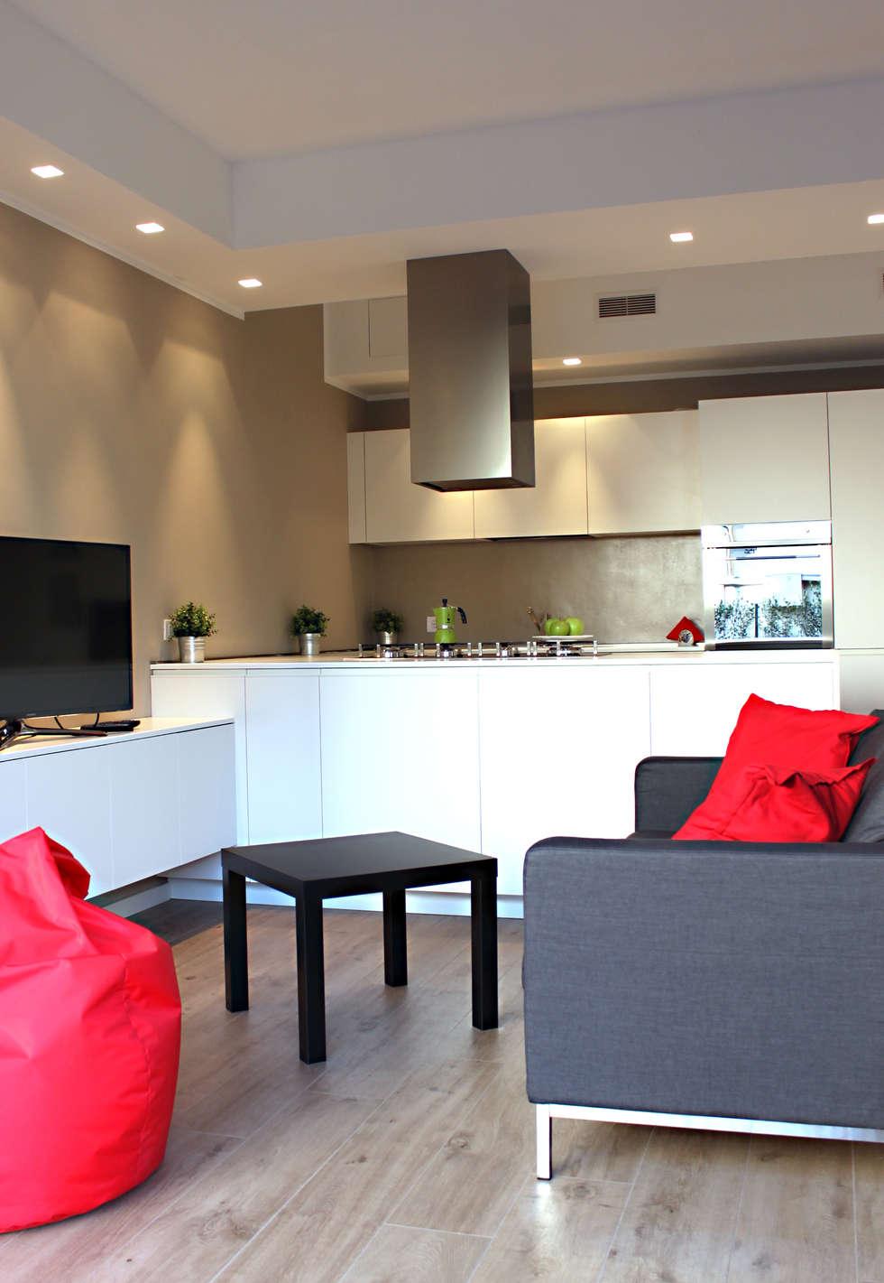 Idee arredamento casa interior design homify - Soggiorno con cucina a vista ...