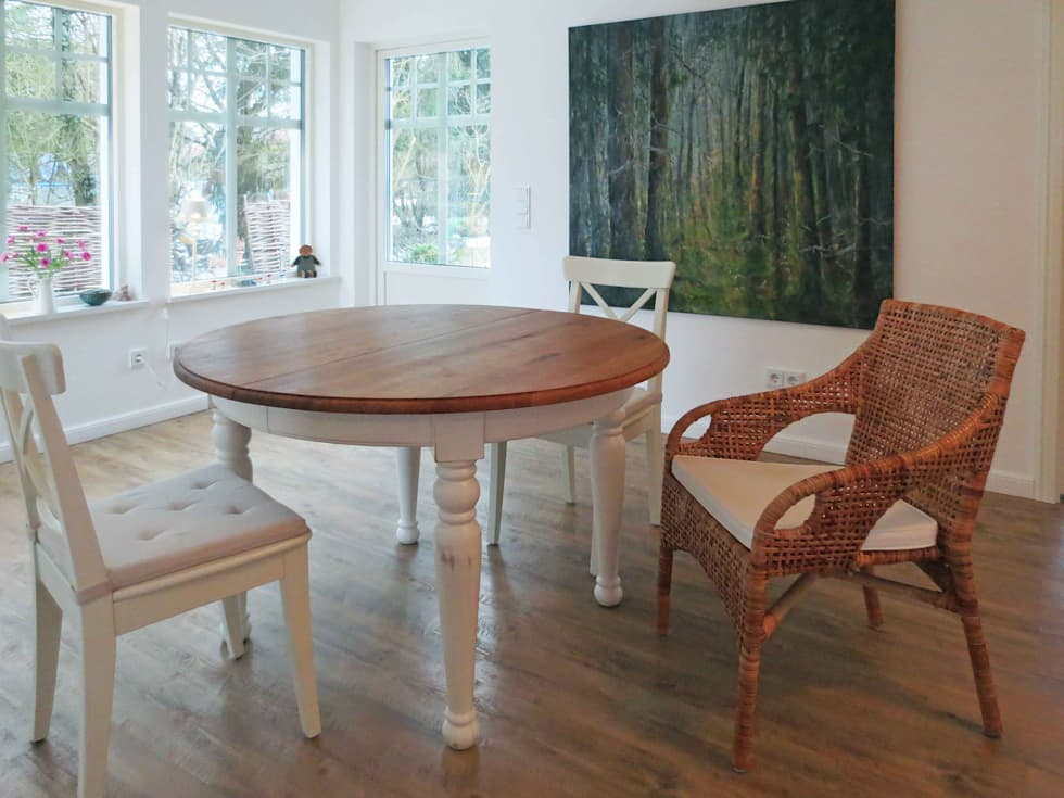 Ausziehbarer Esstisch Mit Tischplatte Aus Alteiche: Skandinavische Esszimmer  Von LIGNUM Möbelmanufaktur