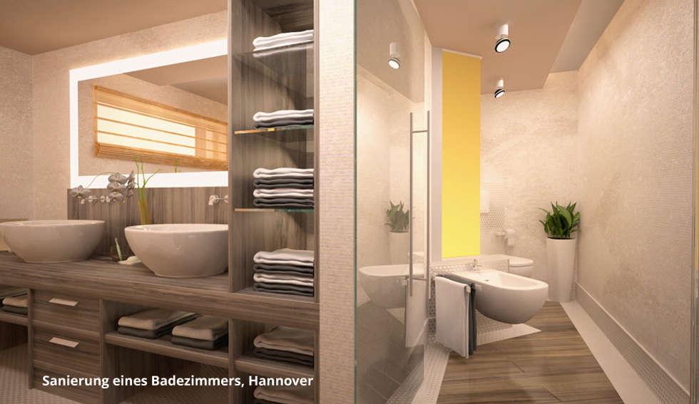 3D-Visualisierung Badsanierung: moderne Badezimmer von GID│GOLDMANN - INTERIOR - DESIGN
