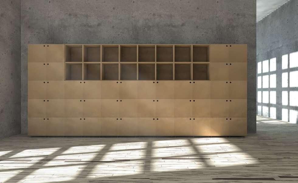 Aktenregal aus MDF: moderne Arbeitszimmer von stocubo - Das modulare Regalsystem