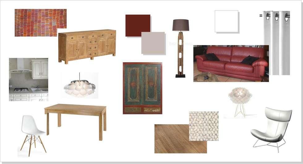 ambiance chaleureuse et naturelle: Salon de style de style Colonial par agence concept decoration