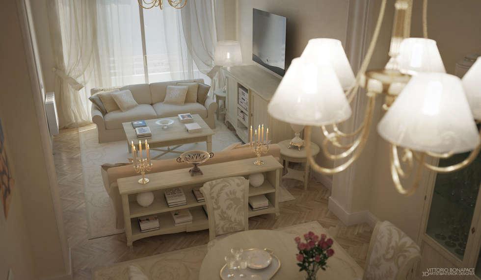 Villa a Nizza: Soggiorno in stile in stile Classico di Vittorio Bonapace 3D Artist and Interior Designer