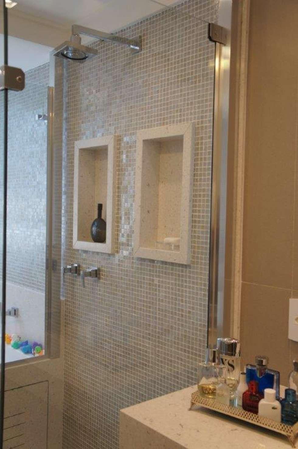 Fotos de banheiros modernos detalhe nichos no box  homify -> Nicho De Banheiro Iluminado