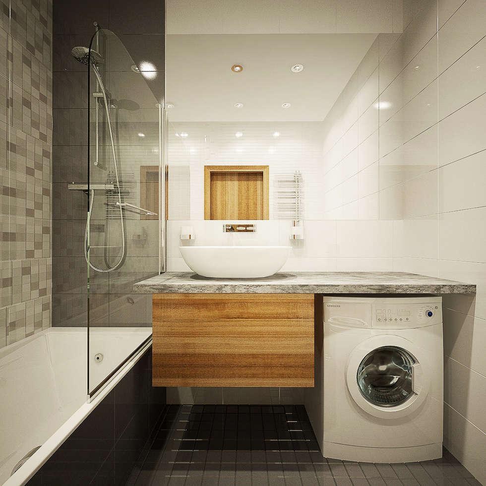 Дизайн однокомнатной квартиры.: Ванные комнаты в . Автор – Александра Петропавловская