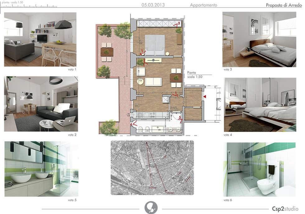 Pianta arredata: Case in stile in stile Moderno di CSP2 studio