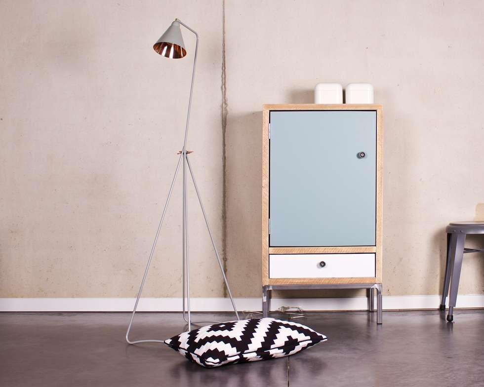 Schrank Bauholz/Stahl: skandinavische Wohnzimmer von PURE Wood Design
